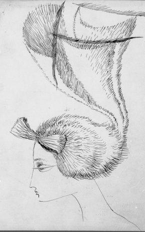 Perfil de Mujer con Sombrero Art Noveau, 1944